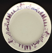 Amherst College china plate: English chasing Indians